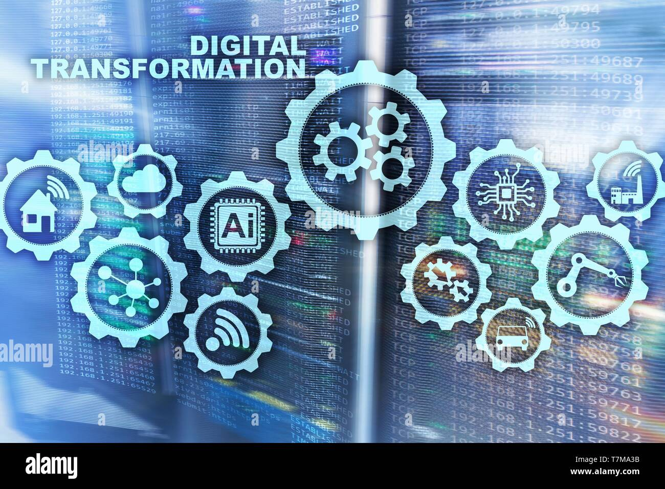 Digital Transformation Concept of digitalization of technology business processes. Datacenter background. - Stock Image