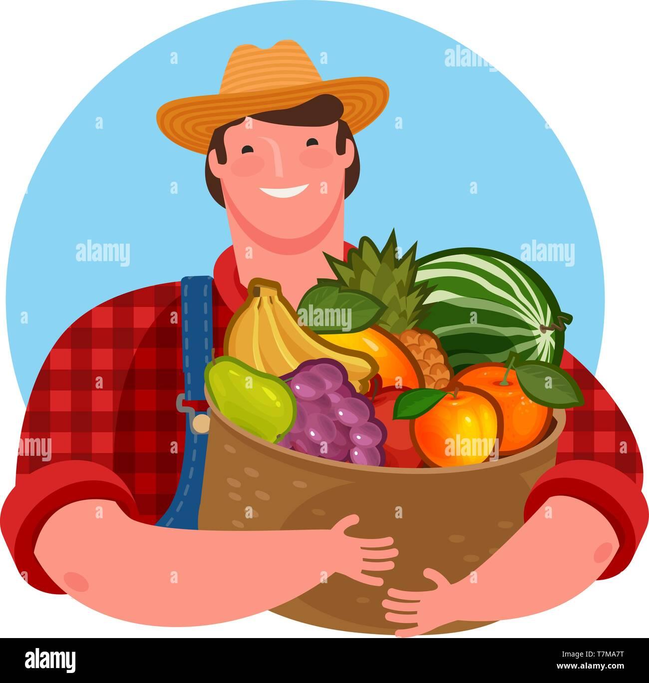 Farmer holding a basket of fresh fruit. Natural product, food vector illustration - Stock Vector