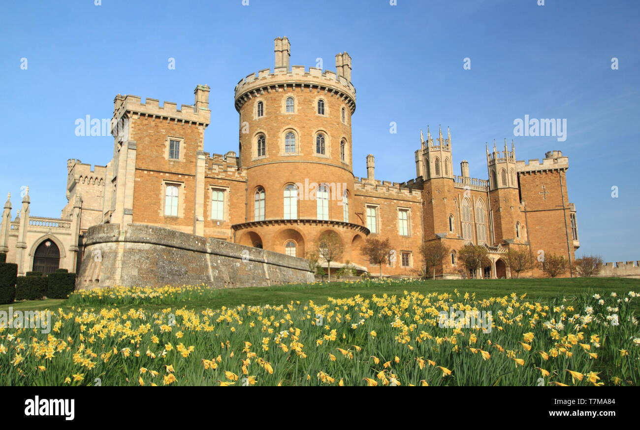 Belvoir Castle, an English stately home; seat of the Dukes of Rutland, Leicestershire, Eeast Midlands, UK Stock Photo