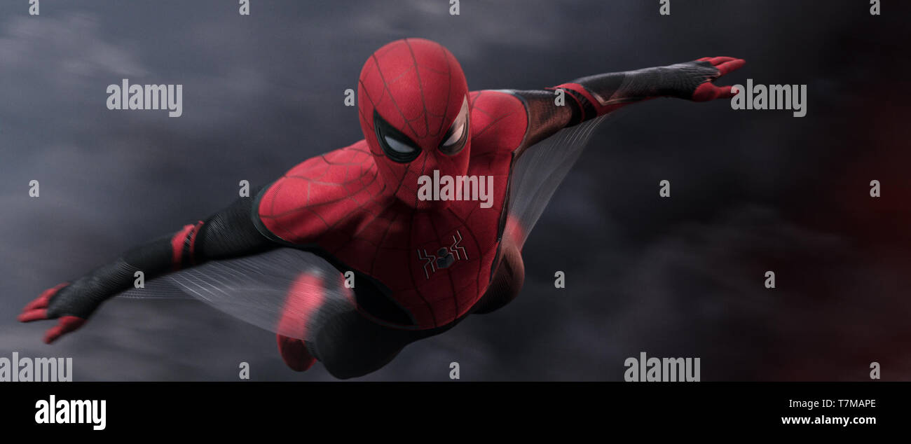 RELEASE DATE: July 5, 2019 TITLE: Spider-Man: Far From Home STUDIO: Sony Pictures DIRECTOR: Jon Watts PLOT: Peter Parker and his friends go on a European vacation, where Peter finds himself agreeing to help Nick Fury uncover the mystery of several elemental creature attacks, creating havoc across the continent. STARRING: TOM HOLLAND as Peter Parker / Spider-Man. (Credit Image: © Sony Pictures/Entertainment Pictures) Stock Photo