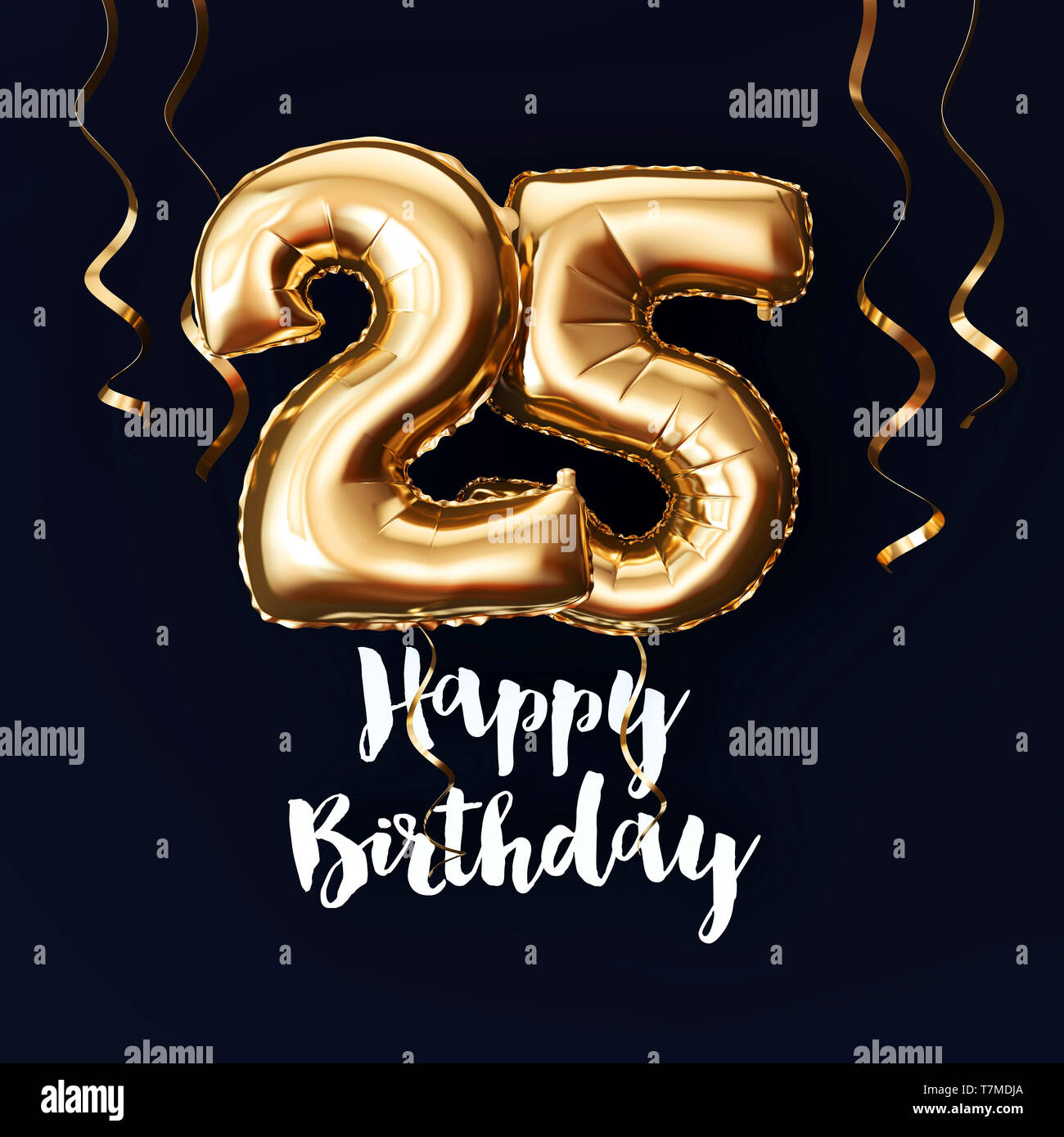 Happy 25th Birthday gold foil balloon background with