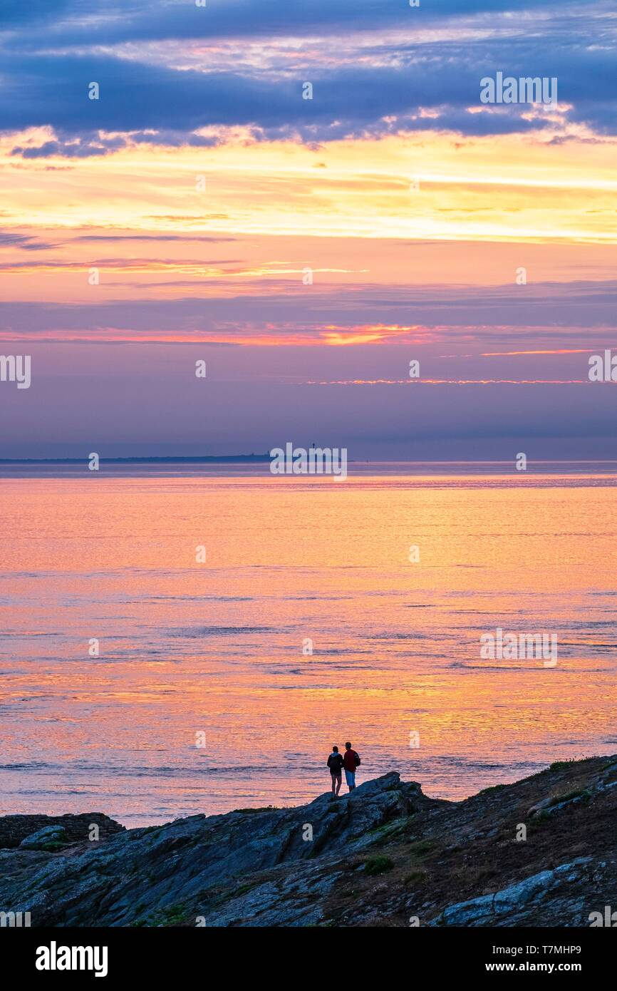 France, Finistere, Le Conquet, sunset from Kermorvan peninsula, Ouessant island in the background Stock Photo