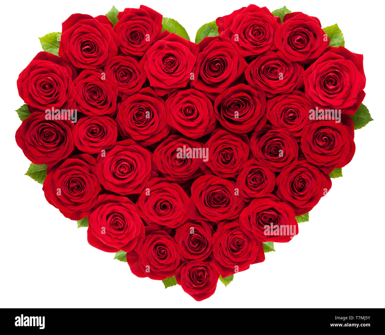 Love Red Roses Heart Isolated On White Background Stock Photo