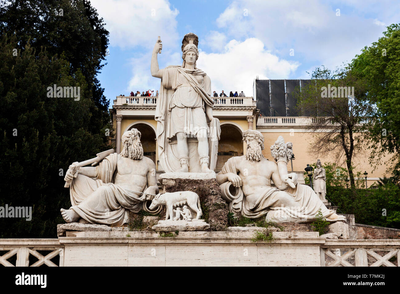 Statue of the She-Wolf Nursing Romulus and Remus in the Piazza del Popolo,Rome, Italy - Stock Image