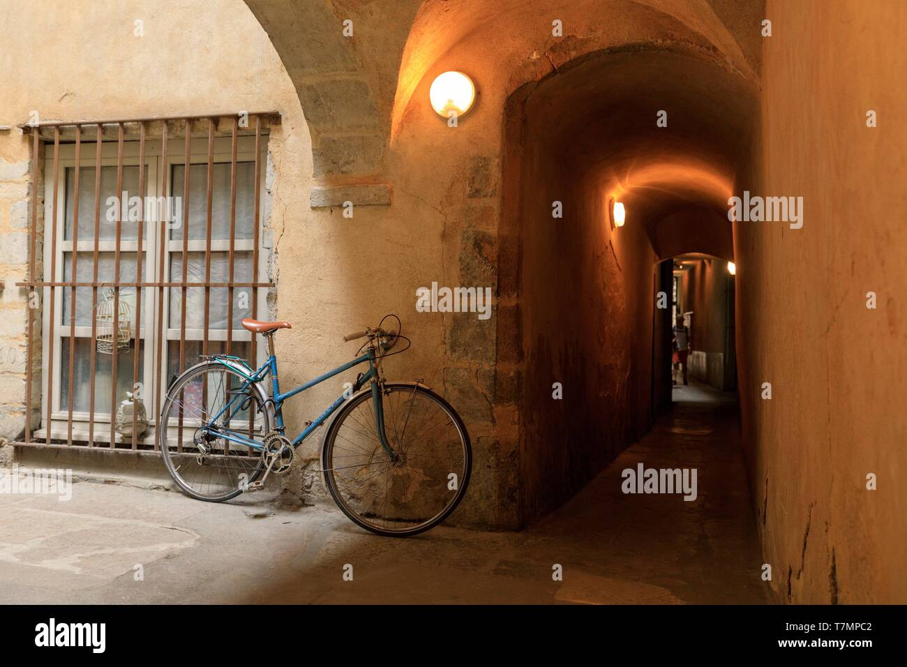 France, Rhone, Lyon, 5th district, Old Lyon district, historic site listed as World Heritage by UNESCO, rue Saint Jean, Traboule Stock Photo