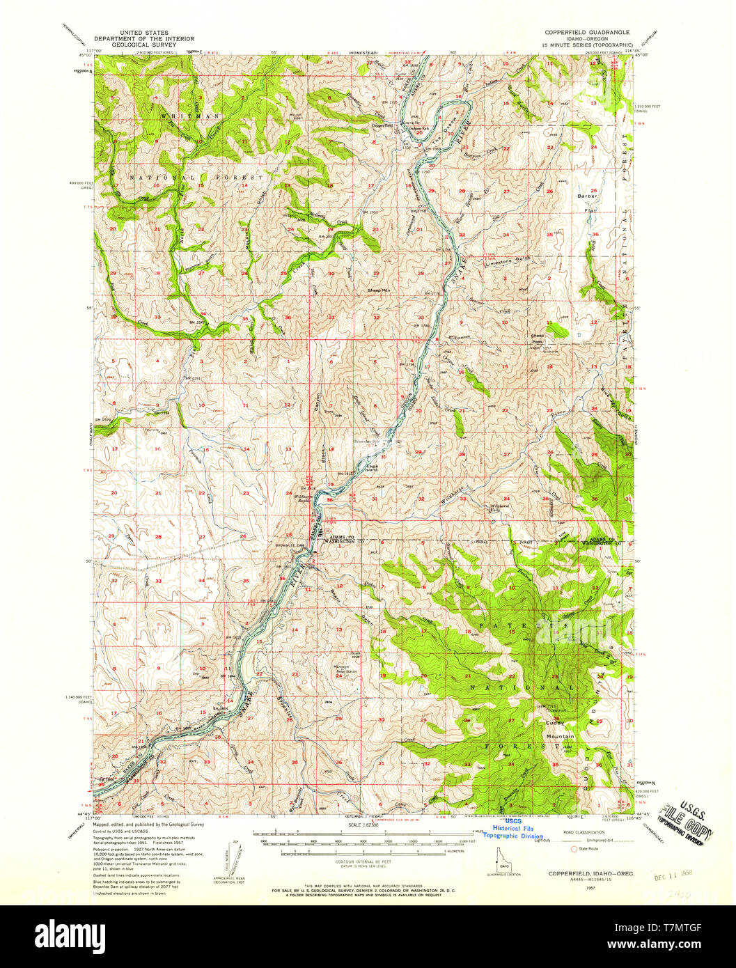 USGS TOPO Map Idaho ID Copperfield 239000 1957 62500 ...