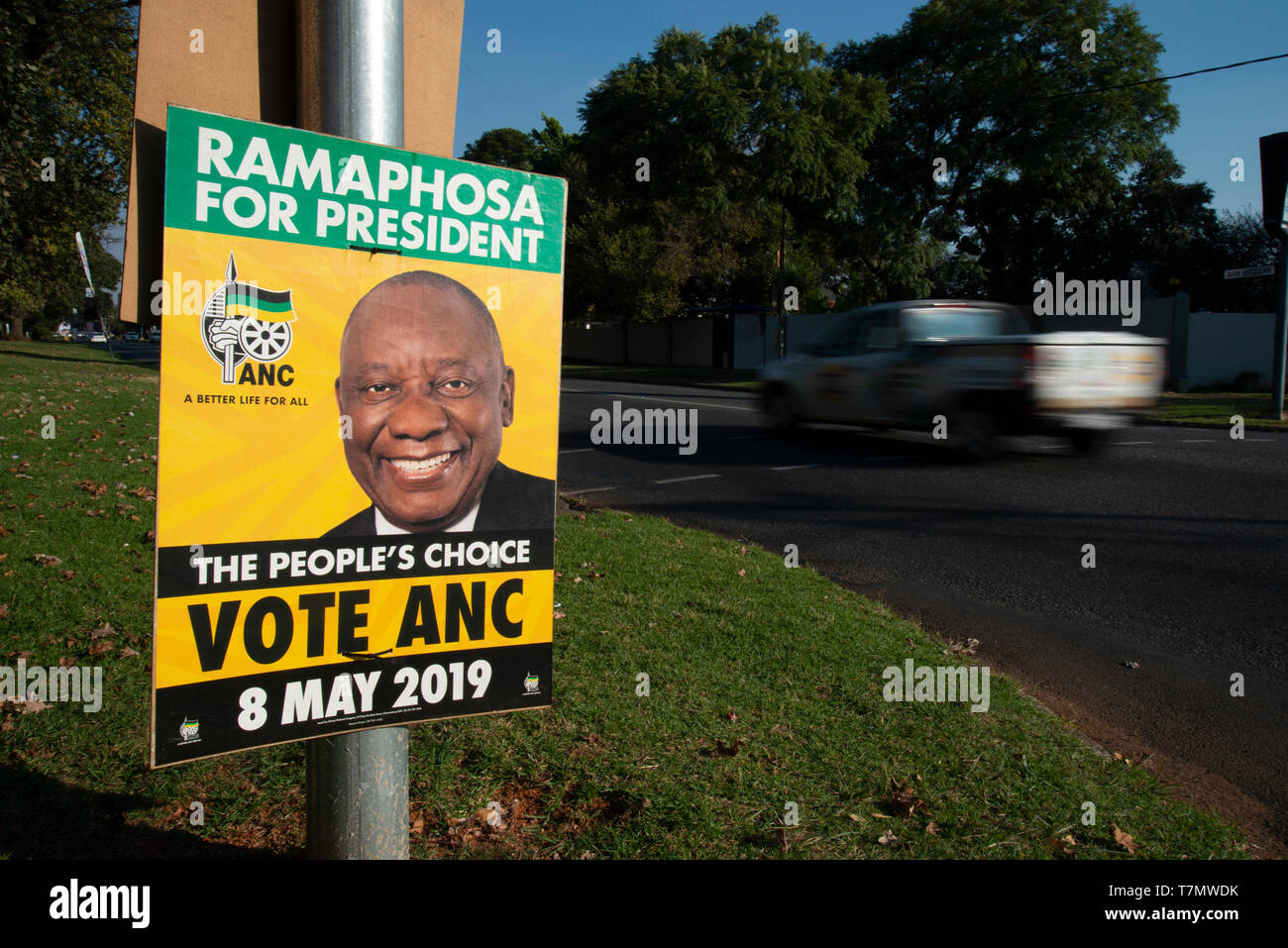 Johannesburg, South Africa, 7th May, 2019. An ANC election poster featuring President Cyril Ramaposhosa is seen in Emmarentia on the eve of national elections, May 8. Credit: Eva-Lotta Jansson/Alamy - Stock Image