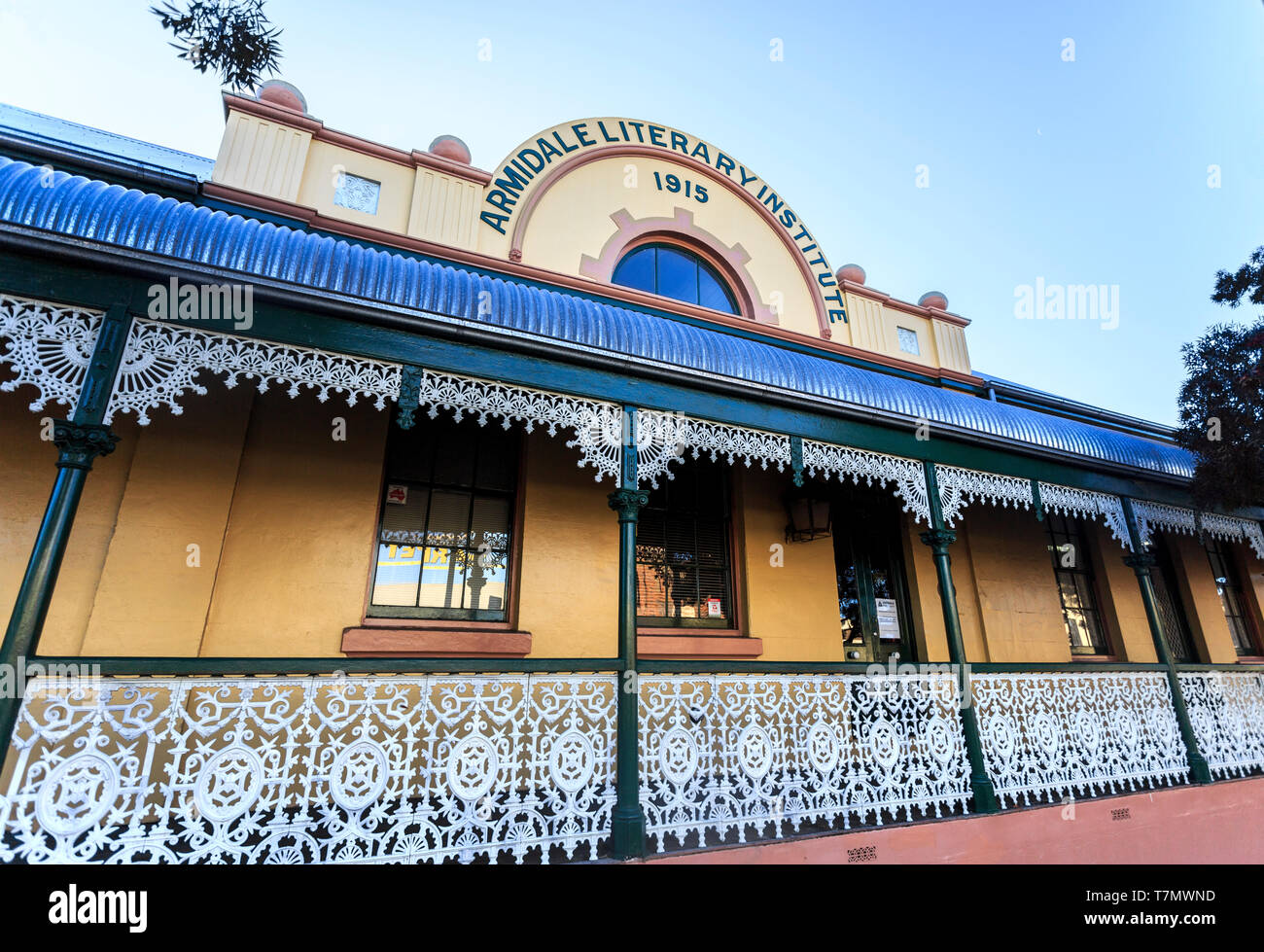 Facade of the School of Arts later known as the Literary Institute, built in 1863, and housing today the Folk Museum, in Armidale, NSW, Australia - Stock Image