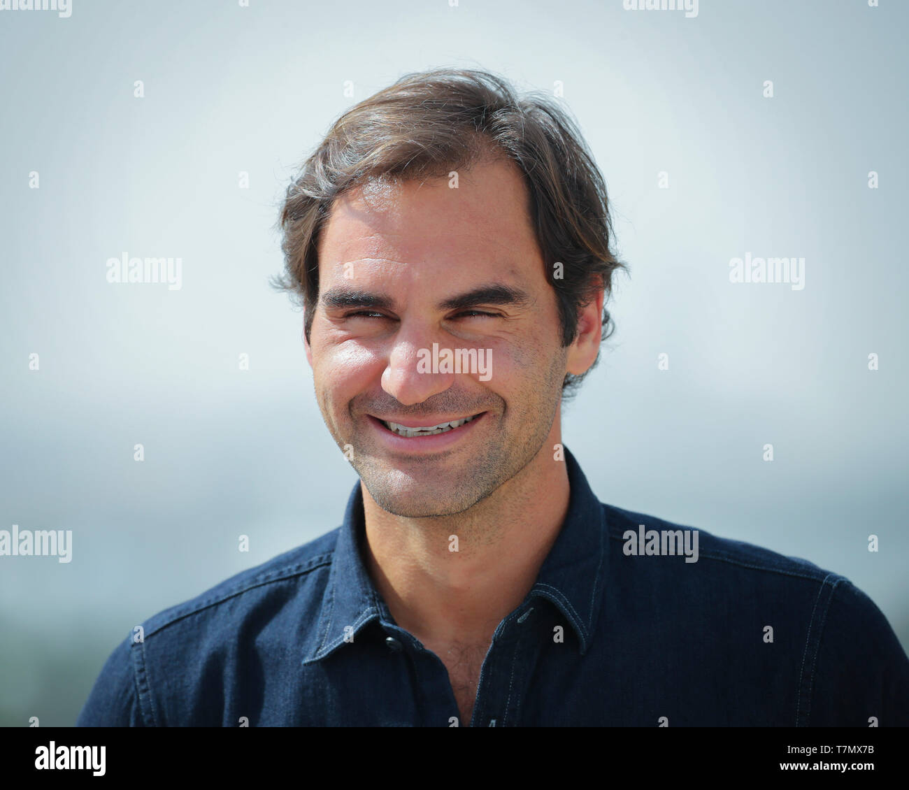 Swiss tennis player Roger Federer during press conference, Dubai, United Arab Emirates - Stock Image