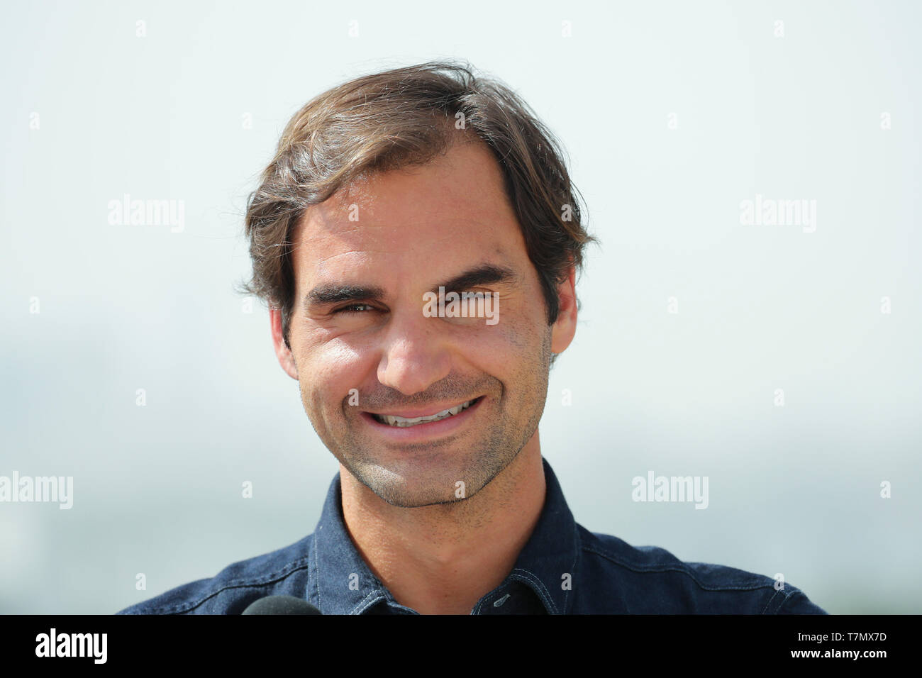 Portrait of Swiss tennis player Roger Federer during press conference, Dubai, United Arab Emirates - Stock Image