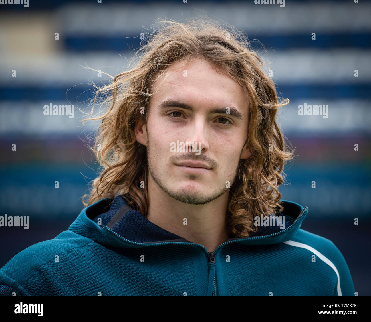 Portrait of Greek tennis player Stefanos Tsitsipas, Dubai, United Arab Emirates - Stock Image