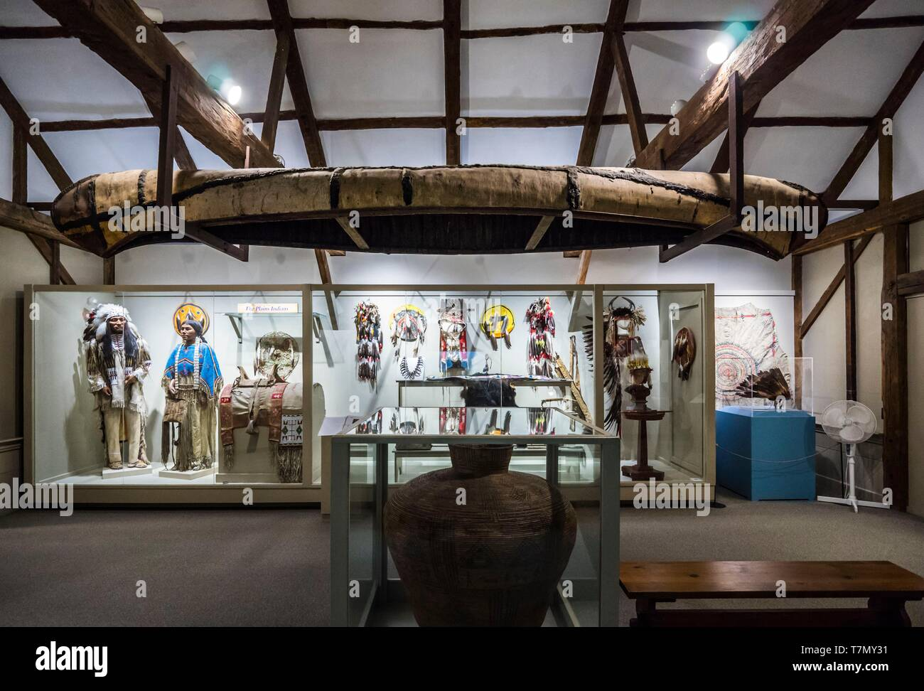 United States, New England, Massachusetts, Harvard, Fruitlands Museum, Native American Museum, interior - Stock Image