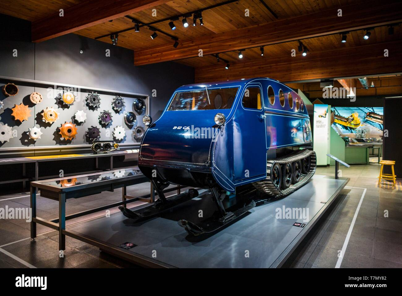 Canada, Quebec, Estrie Region, Valcourt, Musee J Armand Bombardier, museum dedicated to the inventor of the modern snowmobile, early snowmobile prototype - Stock Image