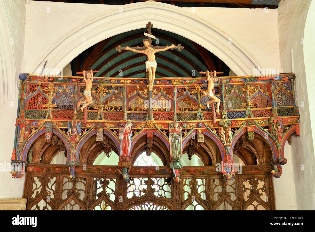 France, Morbihan, stop on the Way of St James, Le Faouet, St Fiacre chapel 15th century, polychromatic wooden jubee, seen as one of the most beautiful of France Stock Photo