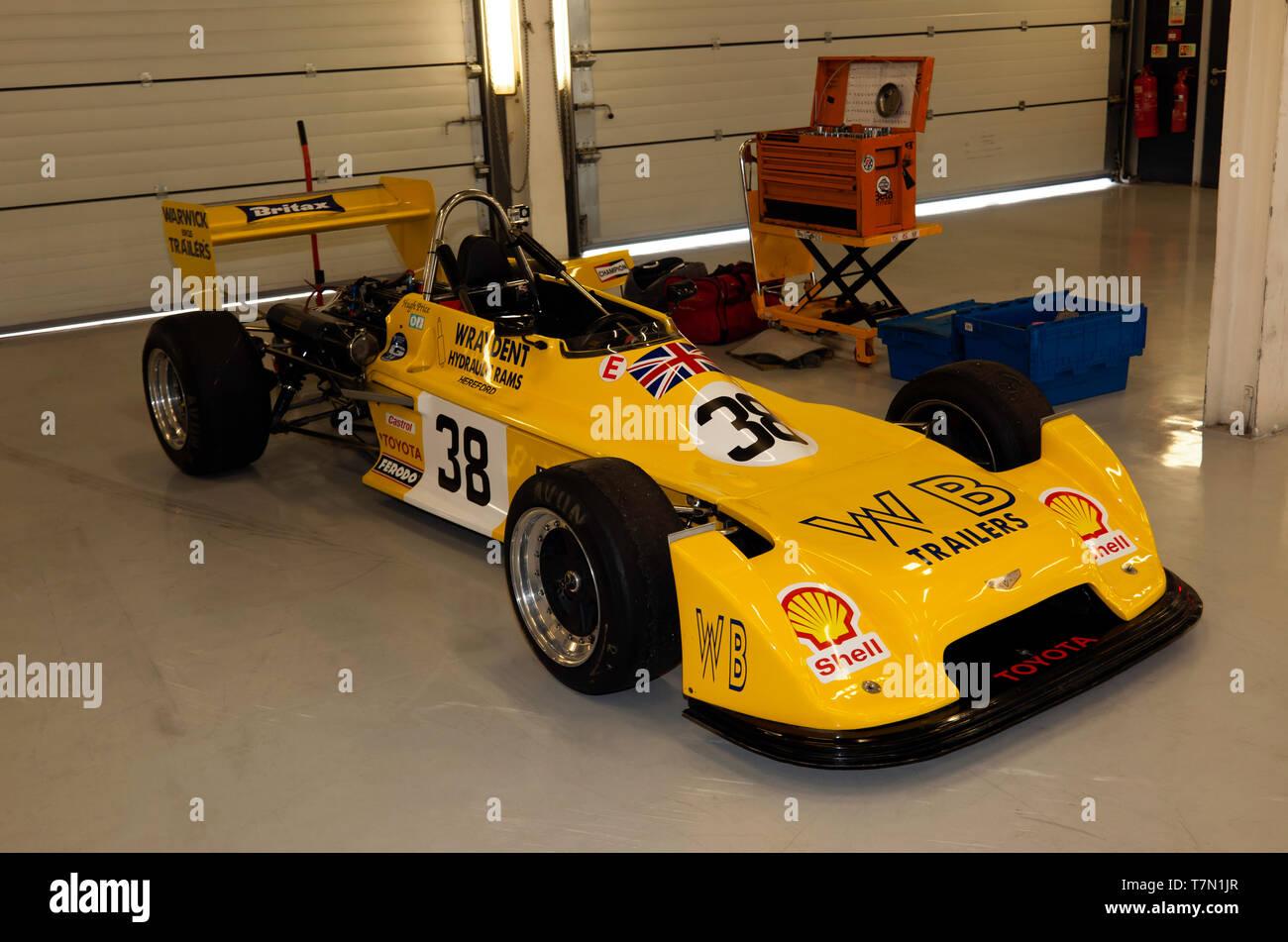 1ab30b4bc Three-quarter front view of Hugh Price's Yellow, 1977, Chevron B38 Formula 3