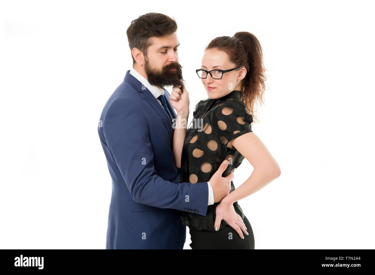 First impressions are everything. Man and woman compete job position. Labor market competition. Job interview. Office flirt. Career company. Dream job concept. Office job affair. Flirting with boss. - Stock Image