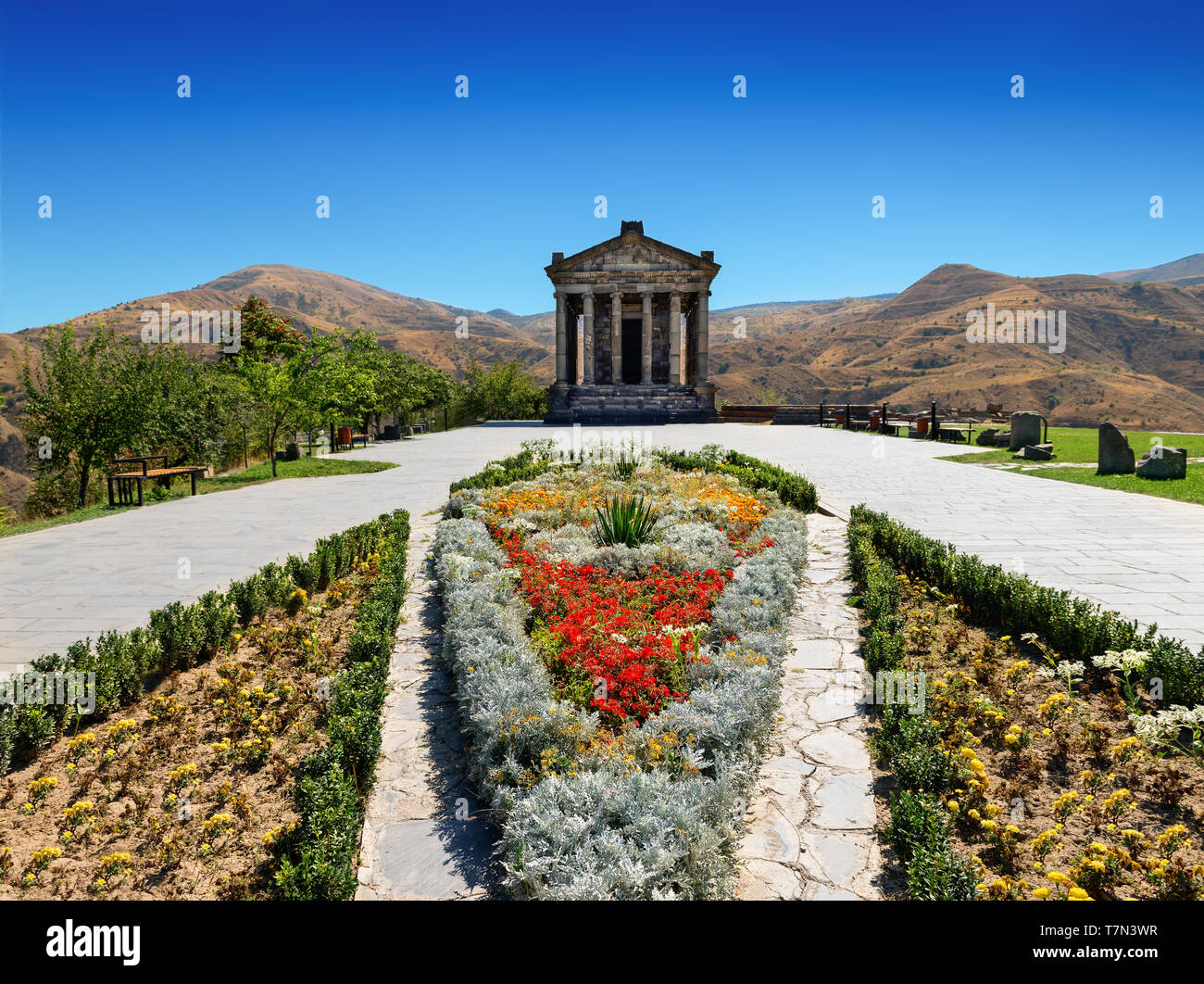 One of the most interesting ancient landmarks of Armenia - Garni Temple, Pagan temple, built in Classical Hellenistic style, Kotayk Province. - Stock Image