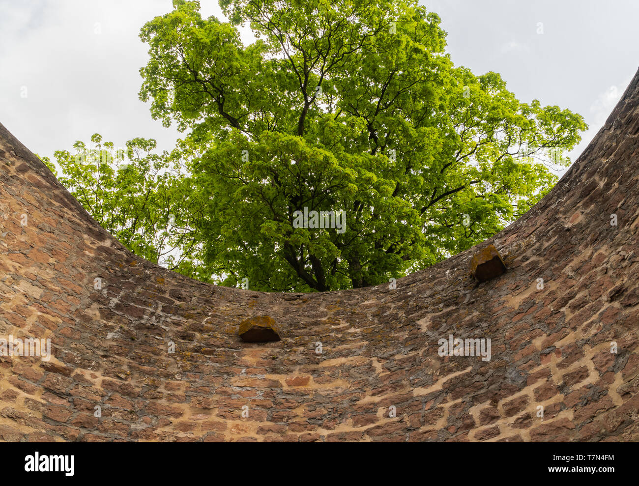 A historic, stone tower. Medieval castle. A fragment of the castle. Ruins. - Stock Image