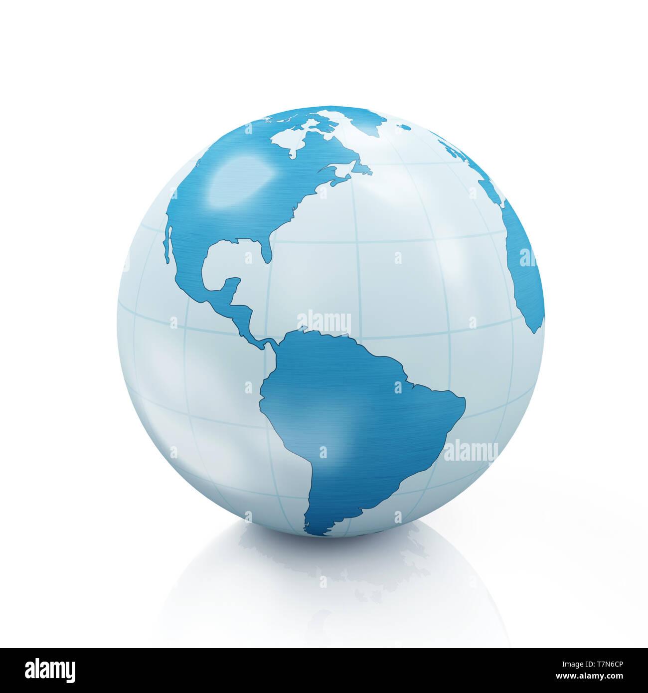 Style Earth Globe isolated on white background - Stock Image
