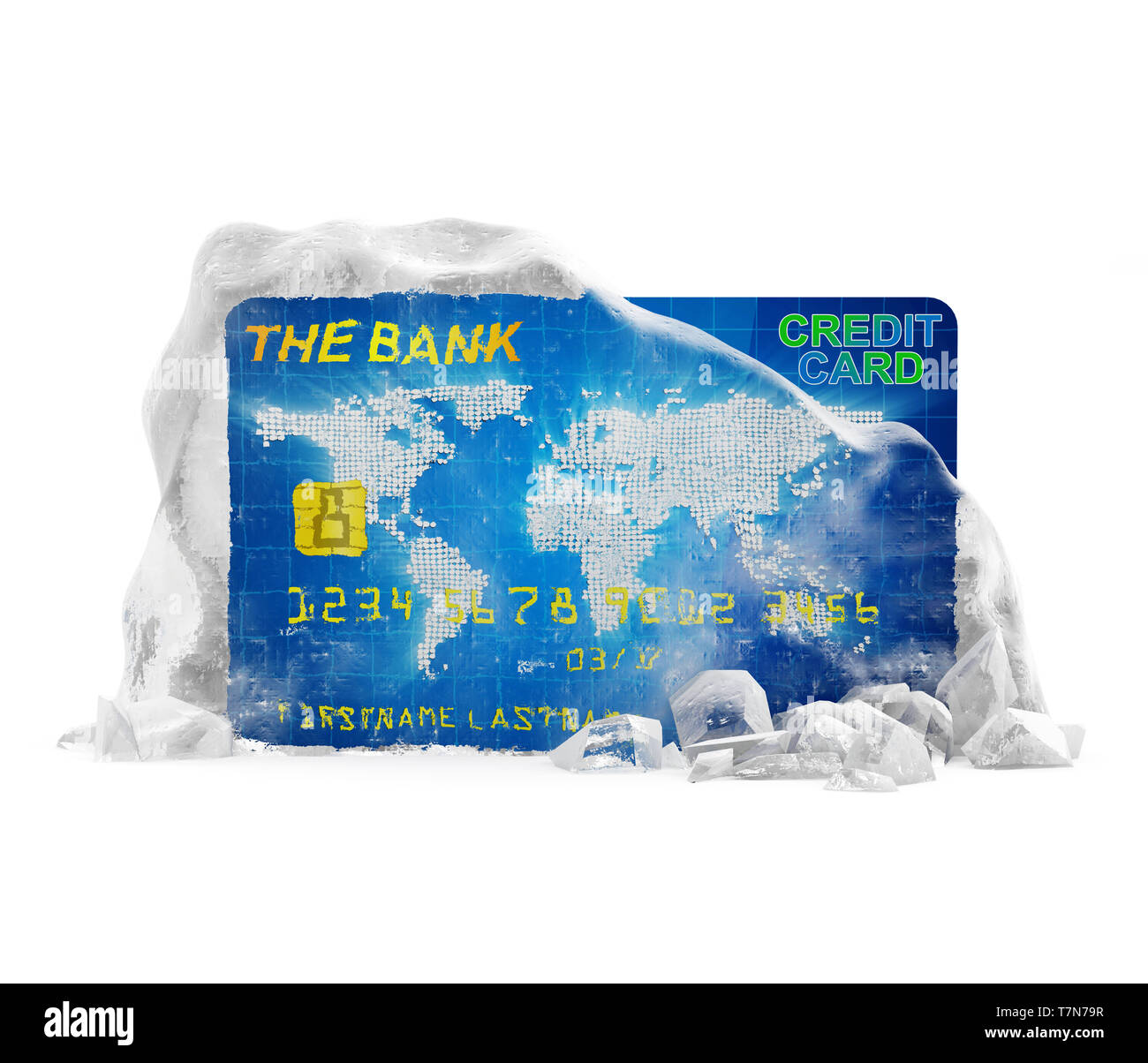Frozen Bank Account Concept. Credit Card in Broken Solid Ice Block isolated on white background - Stock Image