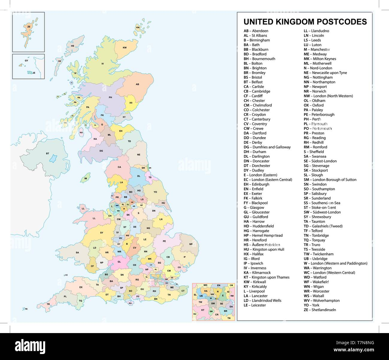 united kingdom Postcodes or postal codes vector map - Stock Image
