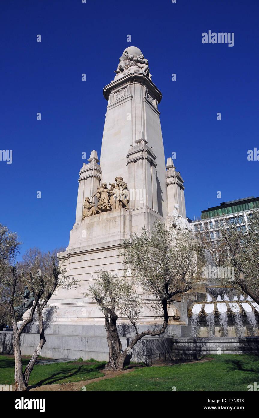 Cervantes Monument, Monumento Cervantes, Madrid, Spain - Stock Image