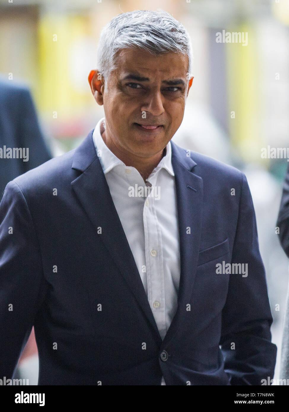 Mayor of London Sadiq Khan arrives at the BBC for the Sunday Politics Show, London, UK  Featuring: Sadiq Khan Where: London, United Kingdom When: 07 Apr 2019 Credit: Wheatley/WENN - Stock Image