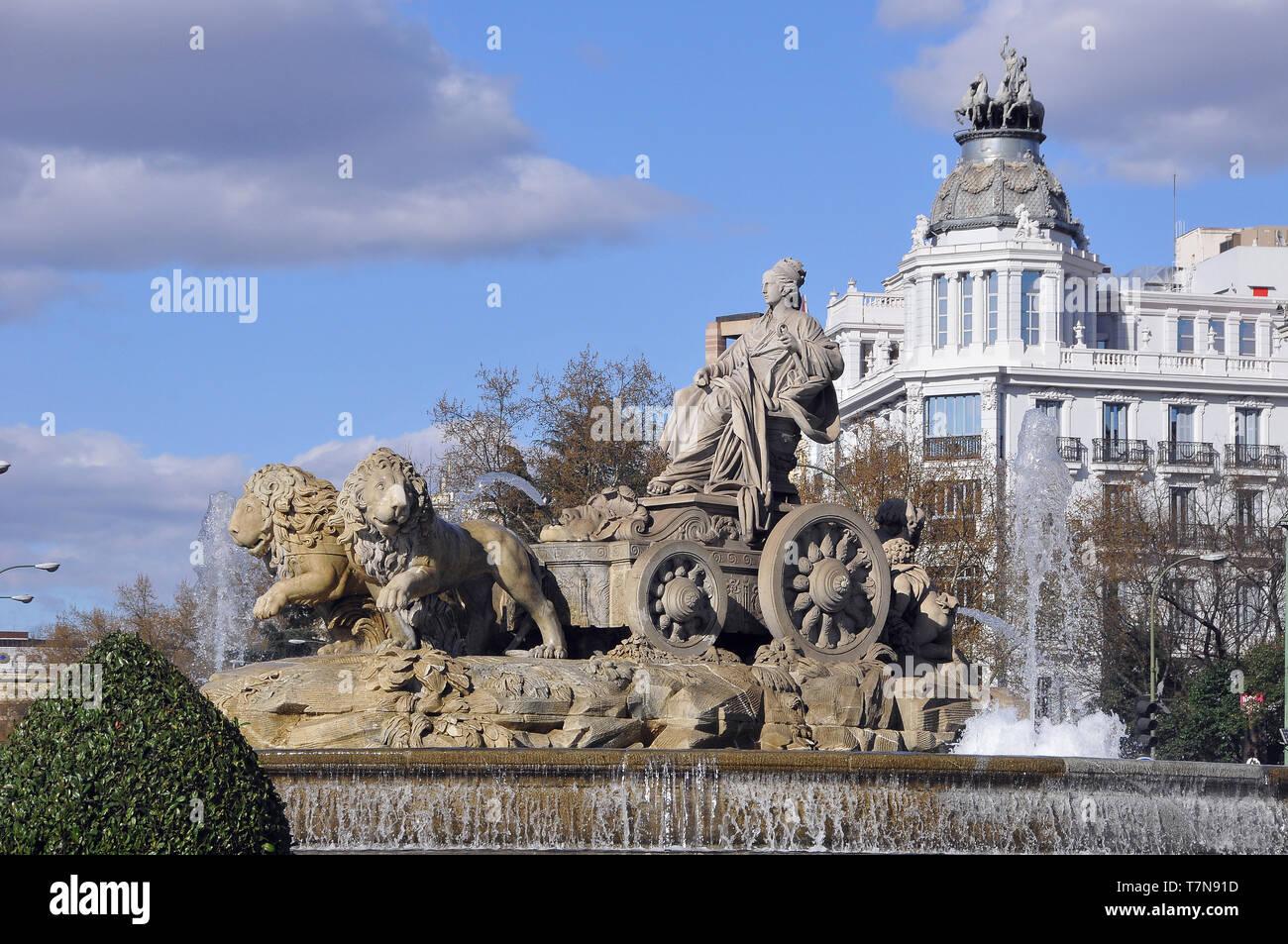 Fuente de Cibeles, Fountain of Cibeles, Madrid, Spain - Stock Image
