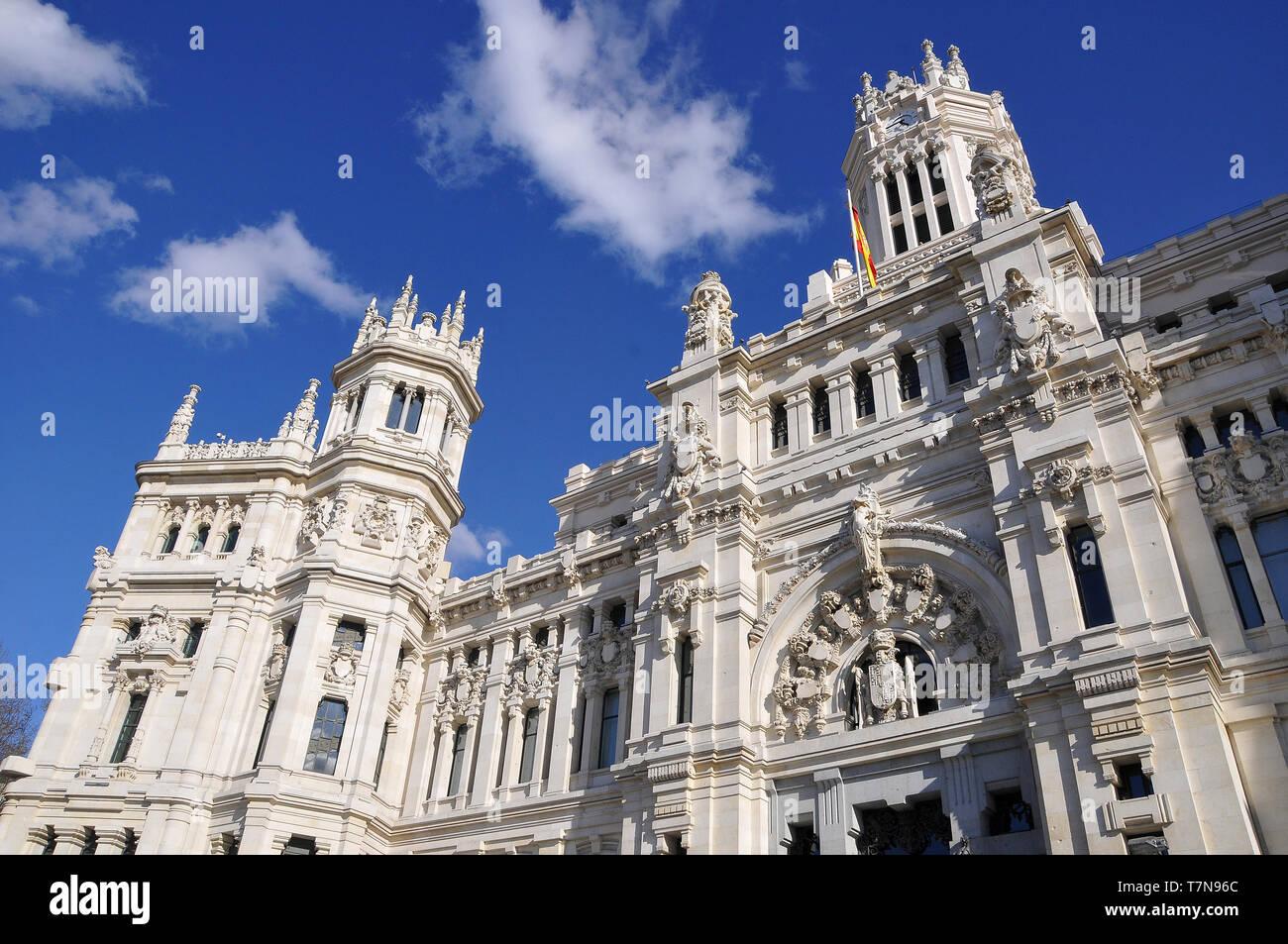 Palacio de Comunicaciones, Palacio de Cibeles, Cybele Palace, Madrid, Spain - Stock Image