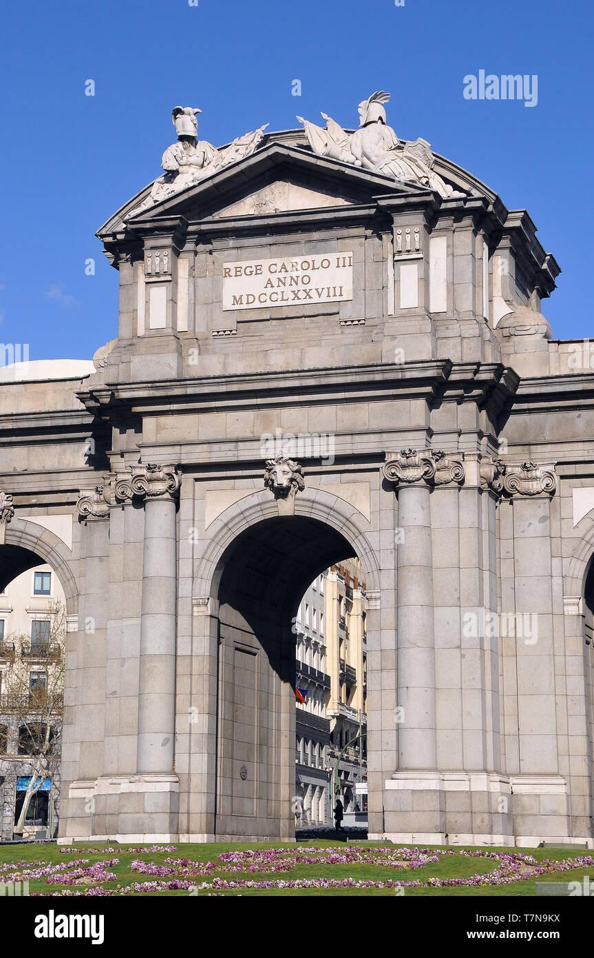 Puerta de Alcalá, Alcalá Gate, Madrid, Spain - Stock Image