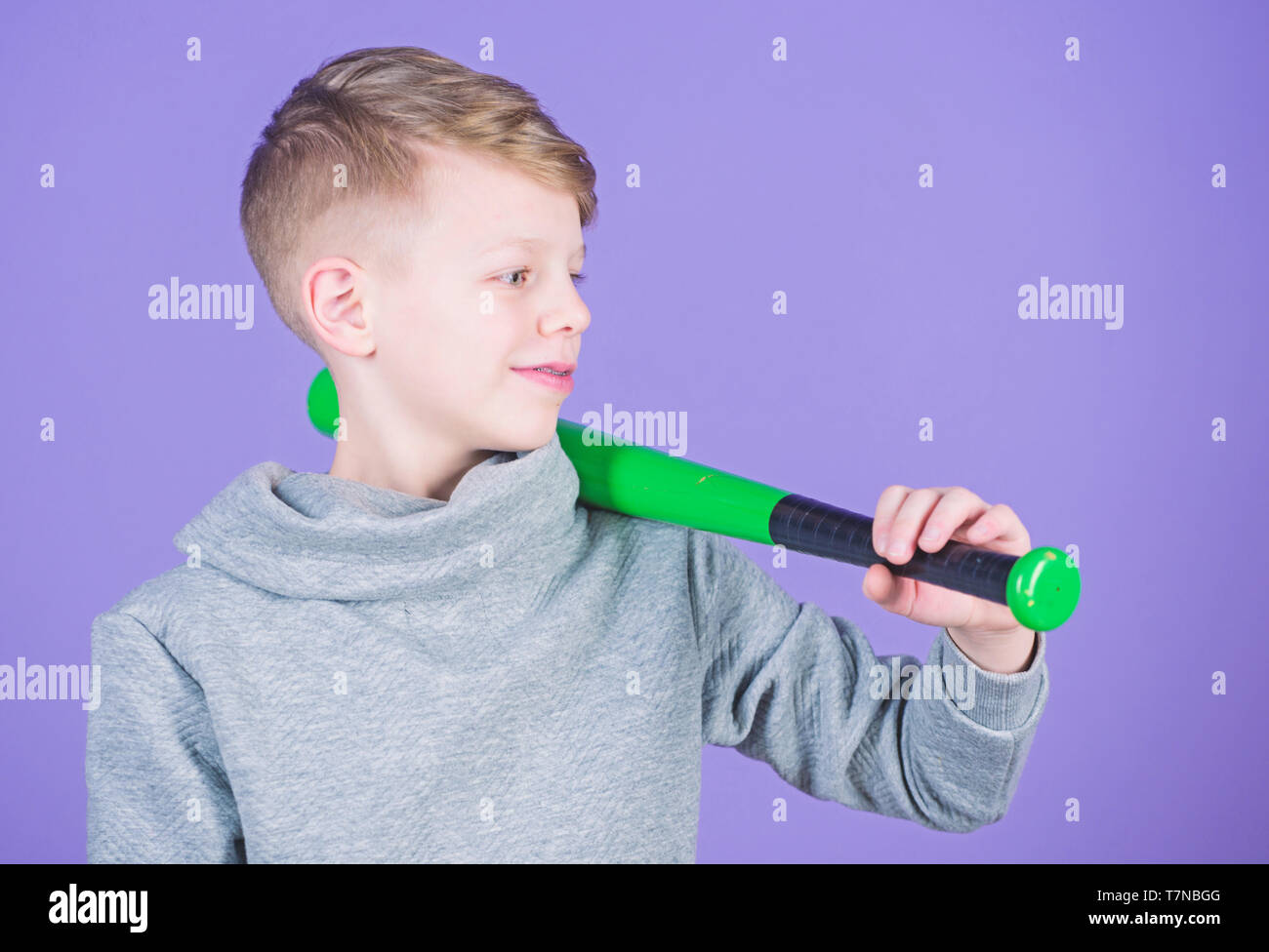 Boy hold baseball bat. Sport and hobby. Teenager boy likes baseball. Active leisure and lifestyle. Healthy childhood. Enjoy active game. Join baseball team. Sport and baseball training concept. - Stock Image