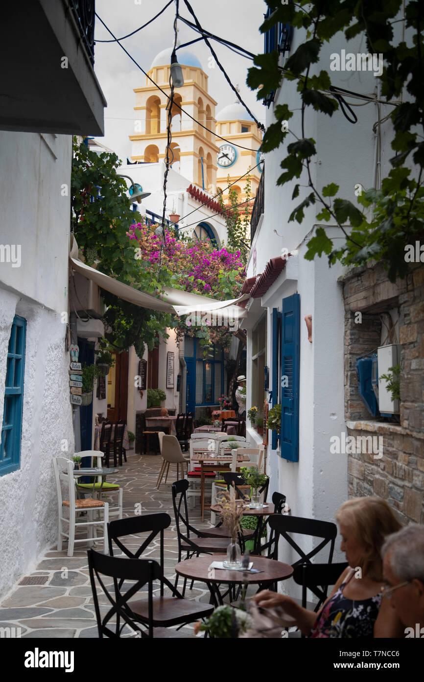 Greece, Cyclades islands, Kythnos, Dryopida Historic town Stock ...
