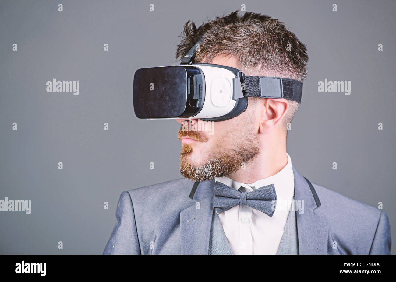 Business man virtual reality. Modern gadget. Innovation and technological advances. Business implement modern technology. Businessman explore virtual reality. Digital technology for business. - Stock Image