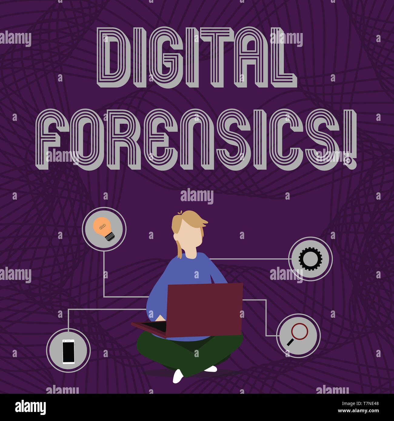Word writing text Digital Forensics. Business photo showcasing investigation of material found in digital devices Woman Sitting Crossed Legs on Floor  - Stock Image