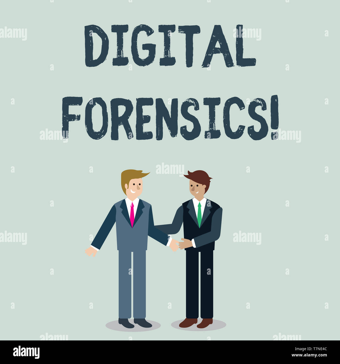Writing note showing Digital Forensics. Business concept for investigation of material found in digital devices Businessmen Smiling and Greeting each  - Stock Image