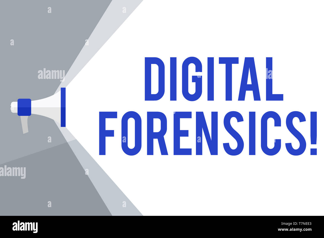 Writing note showing Digital Forensics. Business concept for investigation of material found in digital devices Megaphone Extending the Volume Range t - Stock Image