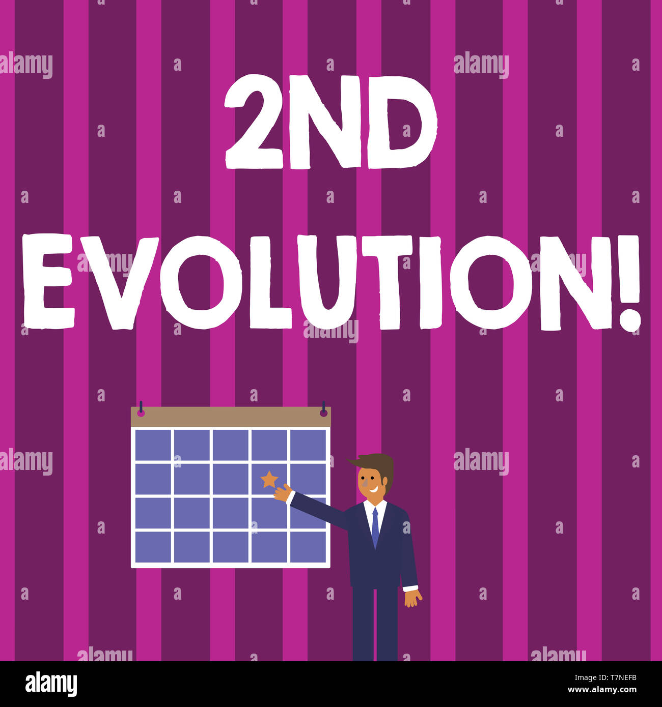 Word writing text 2Nd Evolution. Business photo showcasing change in the heritable features of biological populations Businessman Smiling and Pointing - Stock Image