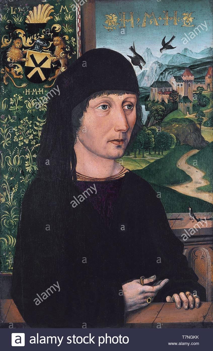 Michael-Wolgemut-Portrait of Levinus Memminger - Stock Image