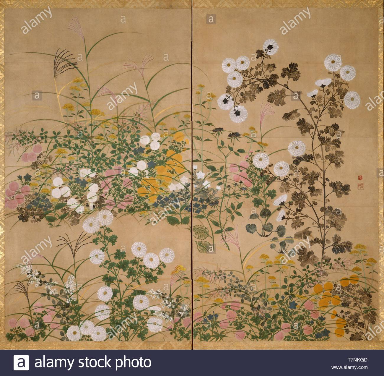 Ogata-Korin-Important Art Object Flowering Plants in Autumn - Stock Image