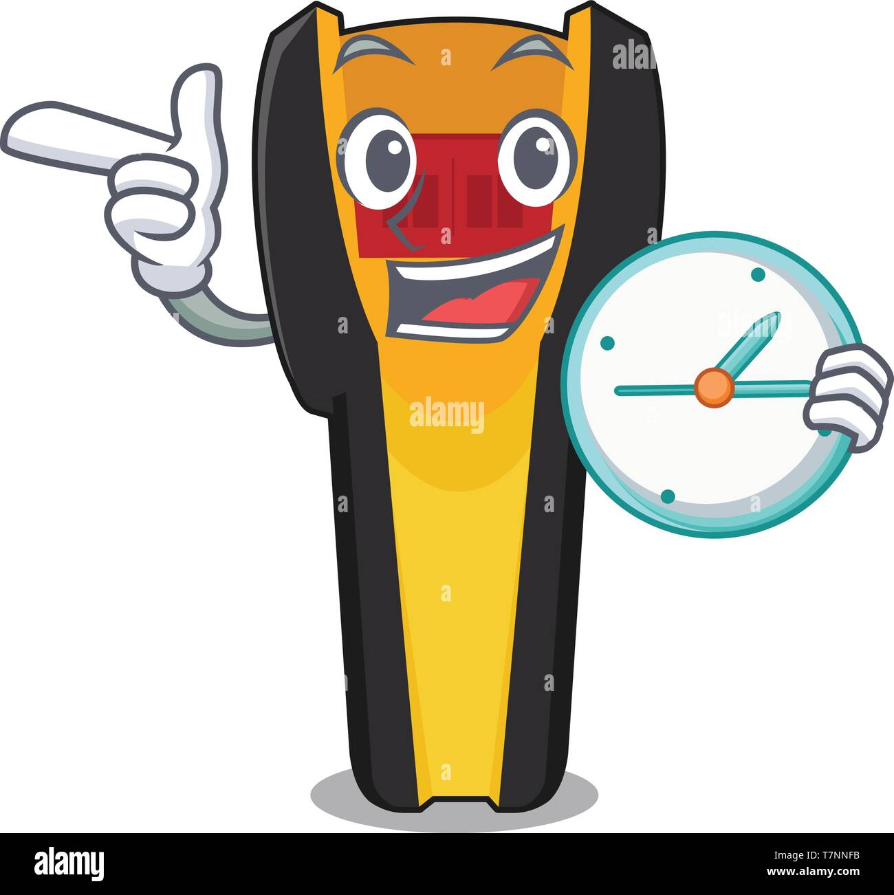 With clock stud finder in the cartoon shape - Stock Vector