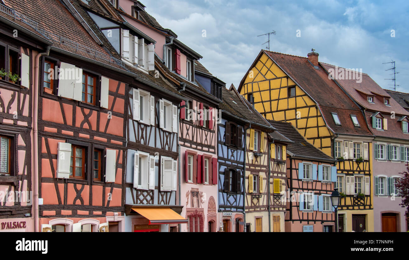 colorful half-timber houses in colmar, travel alsace - Stock Image