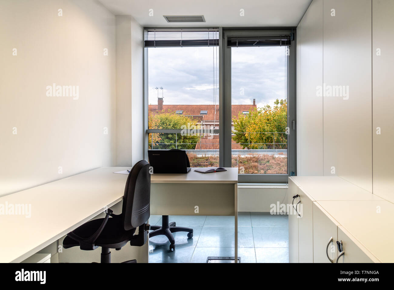 Modern coworking office with furniture and window to park. Stock Photo