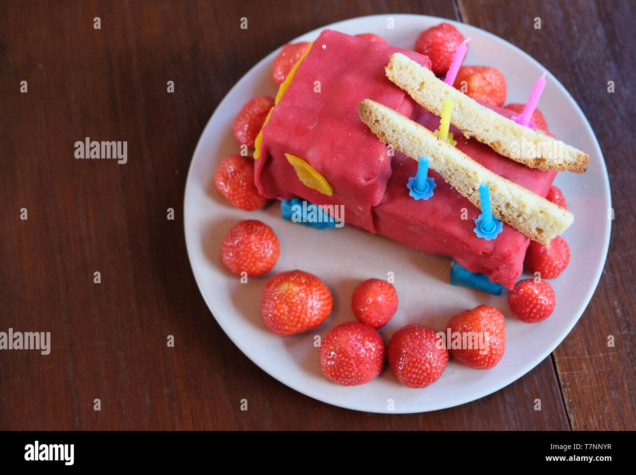 Birthday cake boy five years old with magic carpet - Stock Image