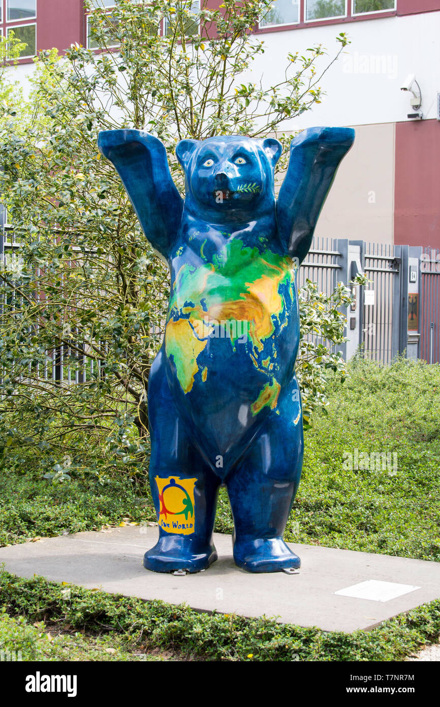 The One World Buddy bear statue in Berlin. - Stock Image