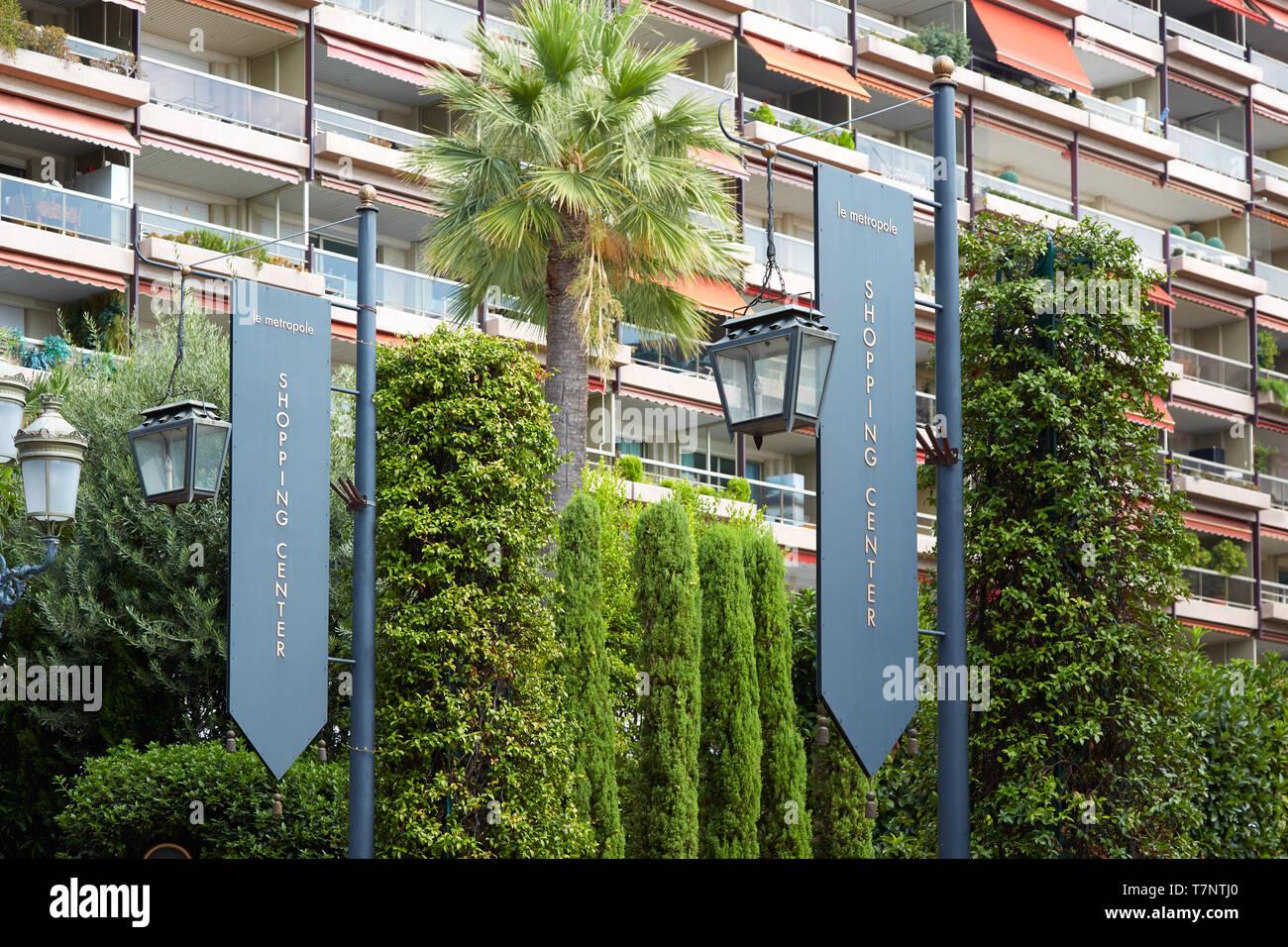 MONTE CARLO, MONACO - AUGUST 20, 2016: Le Metropole, luxury shopping center sign in Monte Carlo, Monaco. - Stock Image
