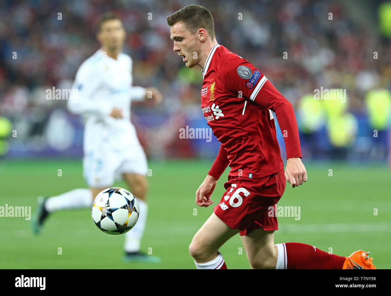 Andy Robertson of Liverpool in action during the UEFA Champions League Final 2018 game against Real Madrid - Stock Image