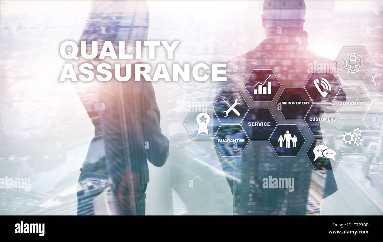 The Concept of Quality Assurance and Impact on Businesses. Quality control. Service Guarantee. Mixed media. - Stock Image