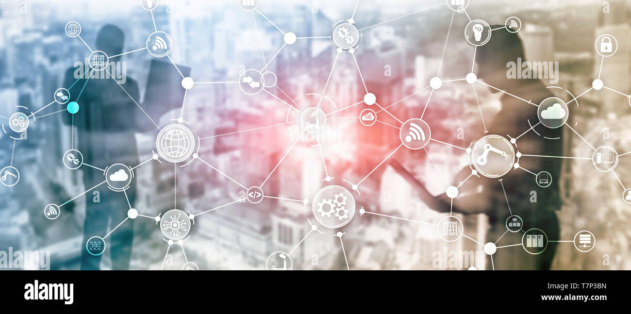 Technology industrial business process workflow organisation structure on virtual screen. IOT smart industry concept mixed media diagram Stock Photo