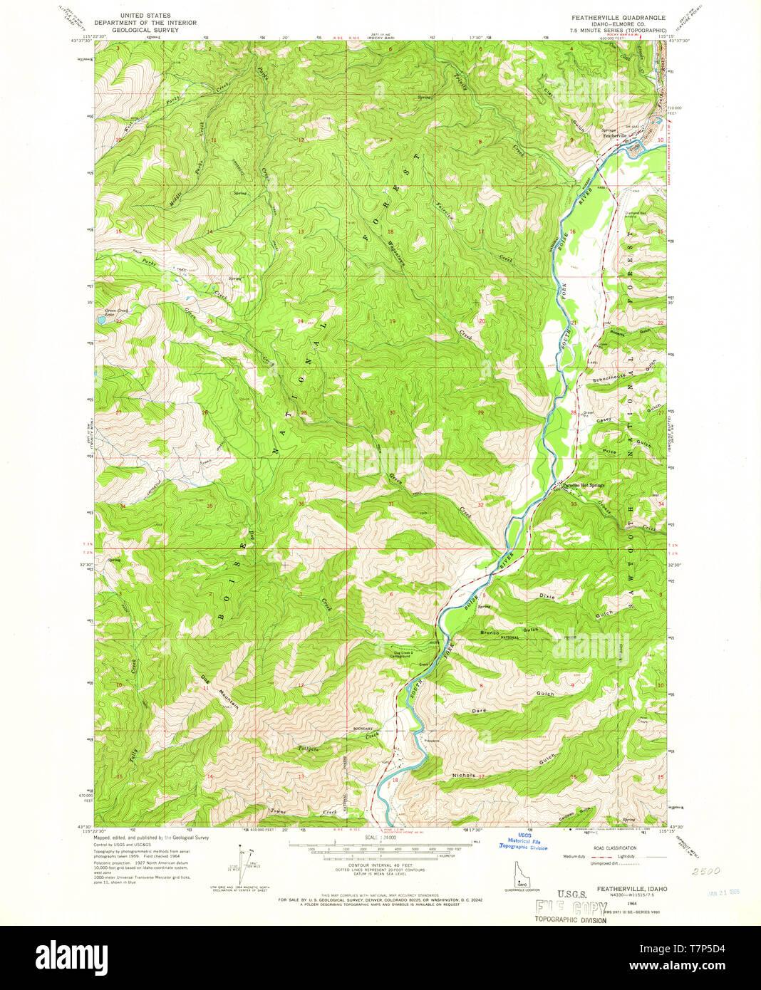 USGS TOPO Map Idaho ID Featherville 236086 1964 24000 ...