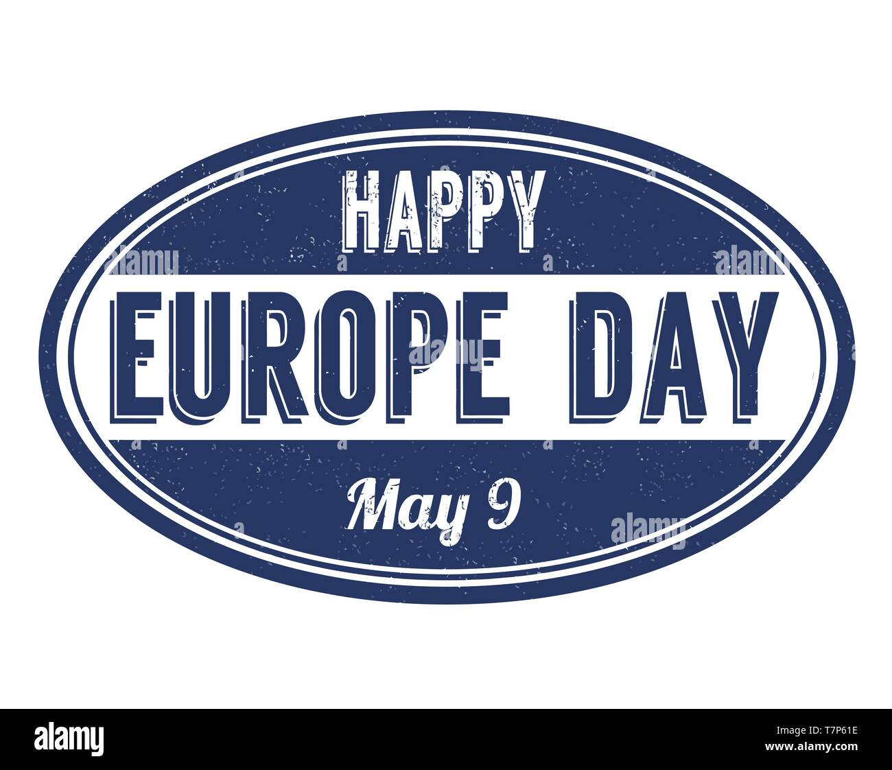 Happy Europe day sign or stamp on white background, vector illustration - Stock Image